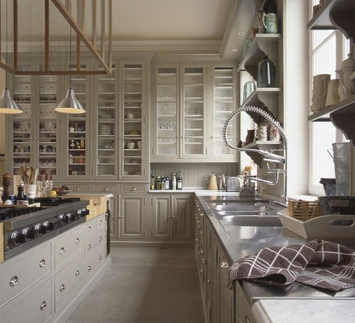 drool.  gray kitchen cabinets, glass door fronts, open shelving, tone on tone, looks like Martha Stewart would own this.