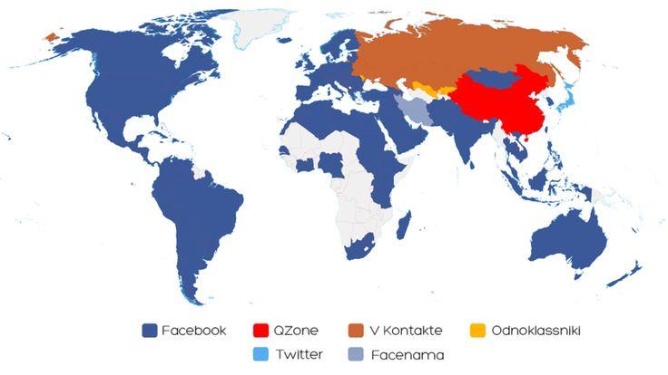<p><b>DOMINERER:</b> Facebook er desidert mest populært. Fargene angir hvilke sosiale nettverk som er størst i det enkelte land. Illustrasjonen er laget av techblogger Vincenzo Cosenza, og gjengis med hans tillatelse.</p>