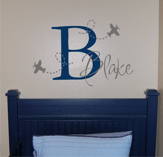 Airplane Name & Initial Wall Decal Plane Wall by homesweetwalls