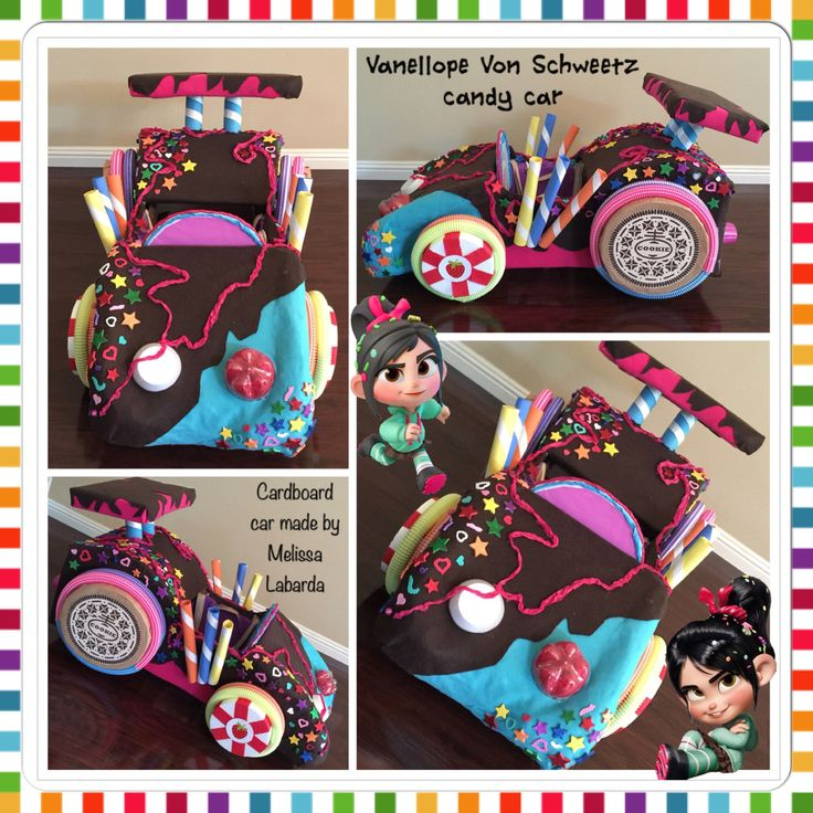 Vanellope Von Scweetz candy car made with cardboard and felt for my daughter's Kindy 500 car parade.