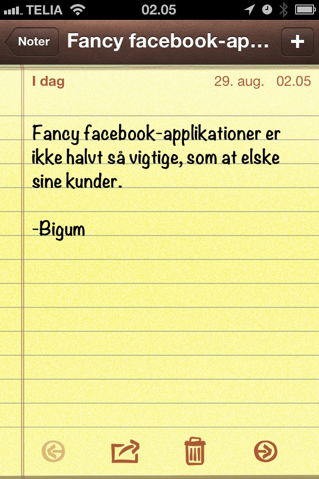 Fancy facebook-applikationer er ikke halvt så vigtige.. (dagens citat af @thomasbigum)
