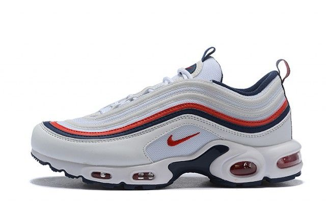 Men S Nike Air Max 97 Plus Tn White Navy Blue Red Boys Running