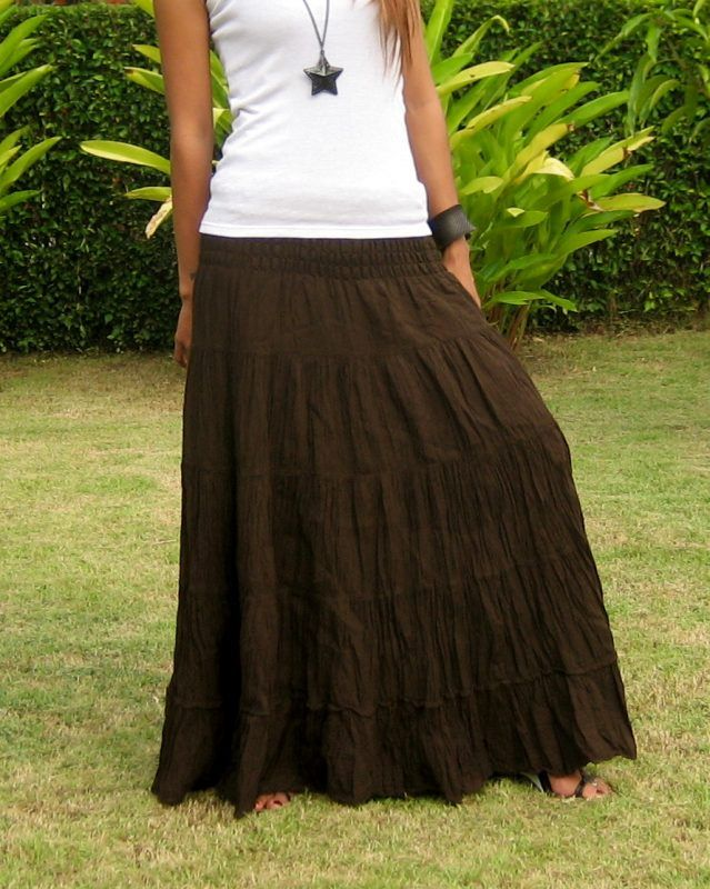 fdf111c78 Plus Size Maxi Skirt * Long Skirts for Women * Elastic Smocked Waist * Free  Shipping * SL-Plus-Choco