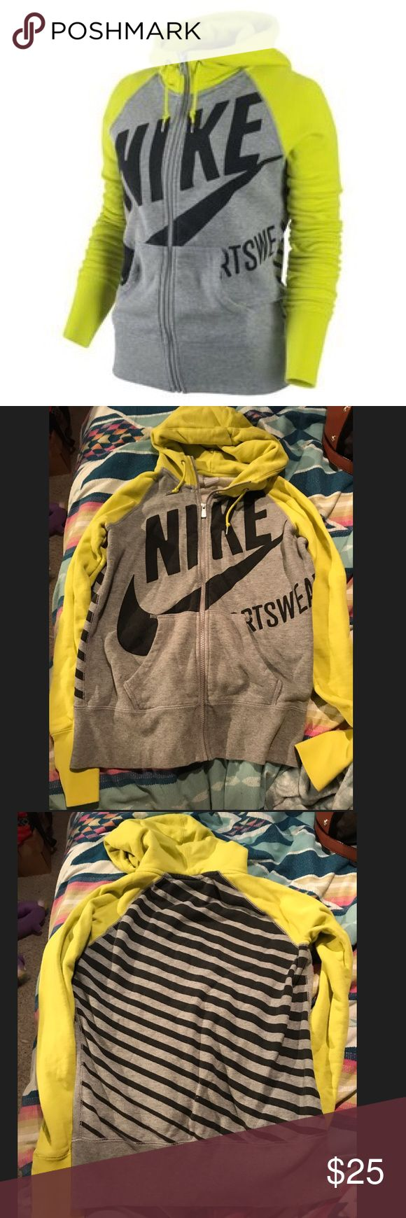 Women's Nike sports jacket Yellow and grey Nike sports jacket// good used condition Nike Tops Sweatshirts & Hoodies