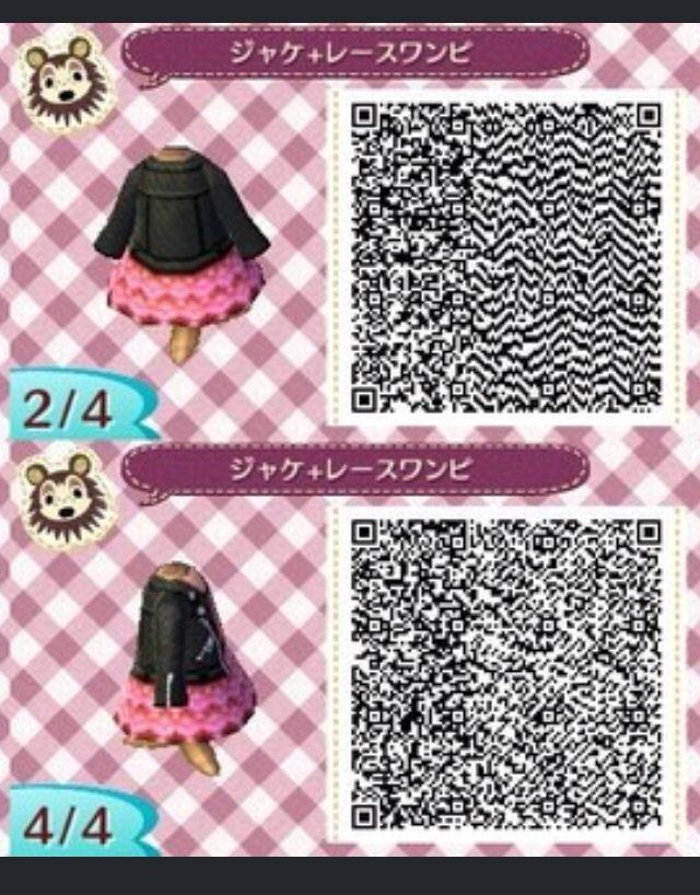 Acnl Qr Code Leather Jacket Pink Dress 2 Animal