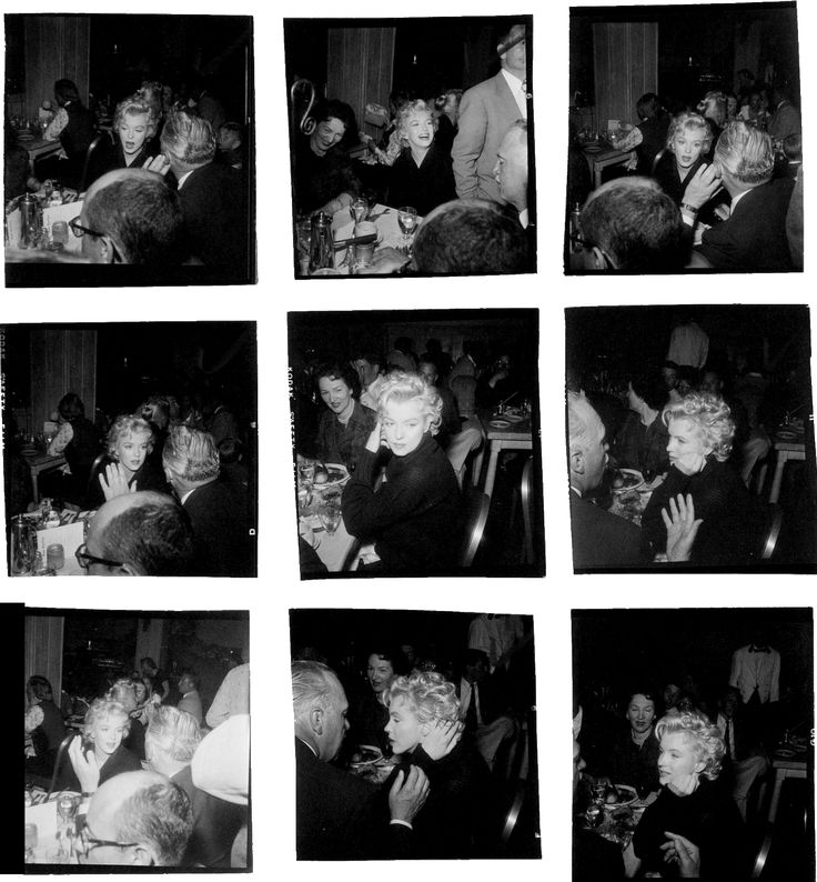 "1956 / Marilyn, Arthur O'CONNELL et Joshua LOGAN lors d'un dîner au restaurant ""The Ram"" pendant le tournage du film ""Bus stop"", à Sun Valley, en Idaho. (Photos signées Bob BEERMAN)."