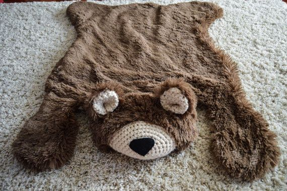 Nursery Rug /  Bear Rug / woodland nursery / Baby room decor / animal playmat