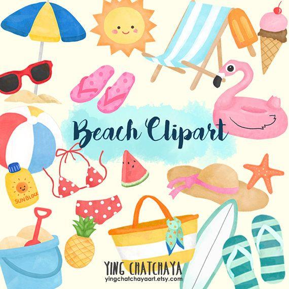 Watercolor Beach Clipart, Beach Clipart, Summer Clipart, Watercolor Summer Clipart, Summer Clip Art, Beach Clip Art, Watercolor Clip Art