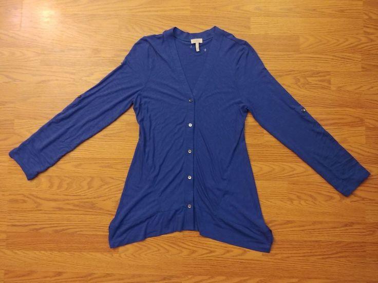 LOGO by Lori Goldstein Womens Cardigan top blue Button Up Sweater XS #LOGObyLoriGoldstein #Cardigan