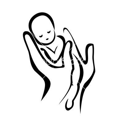 Hands holding a newborn baby on VectorStock