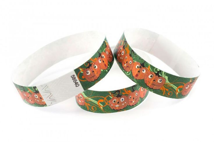 """""""Happy Pumpkins"""" Tyvek® 3/4"""" Pattern Wristbands perfect for Halloween parties or any other special event. www.medtechgroup.com #Halloween #Wristband #Bats #Events #Admission #Ticket"""