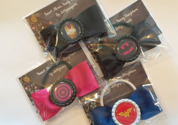 Superhero party favor Hair Bows-set of 12 by jettyspagetti on Etsy