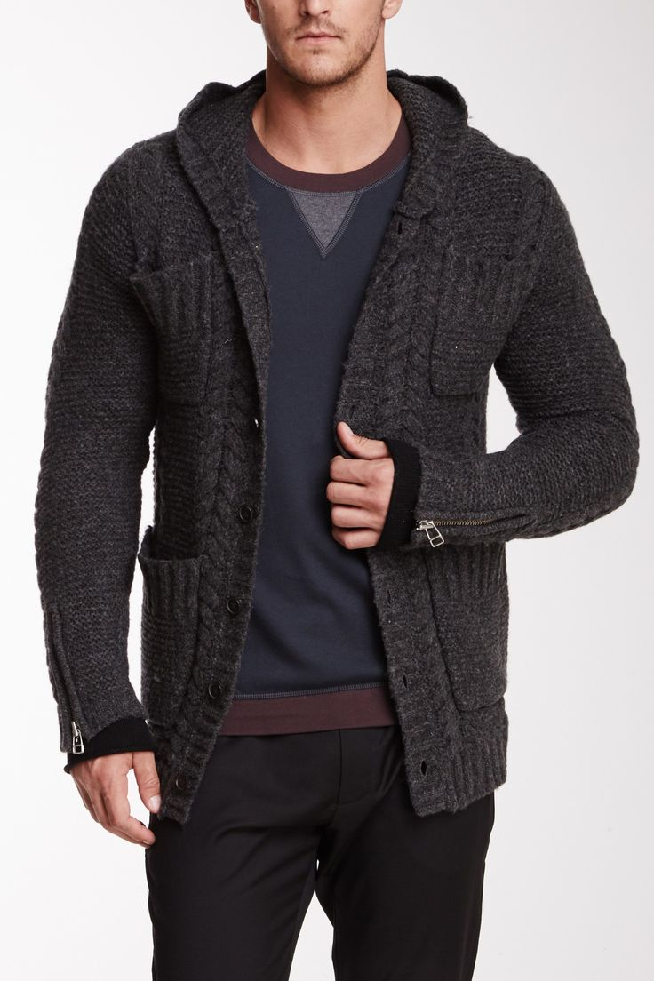 Wool Blend Cable Cardigan