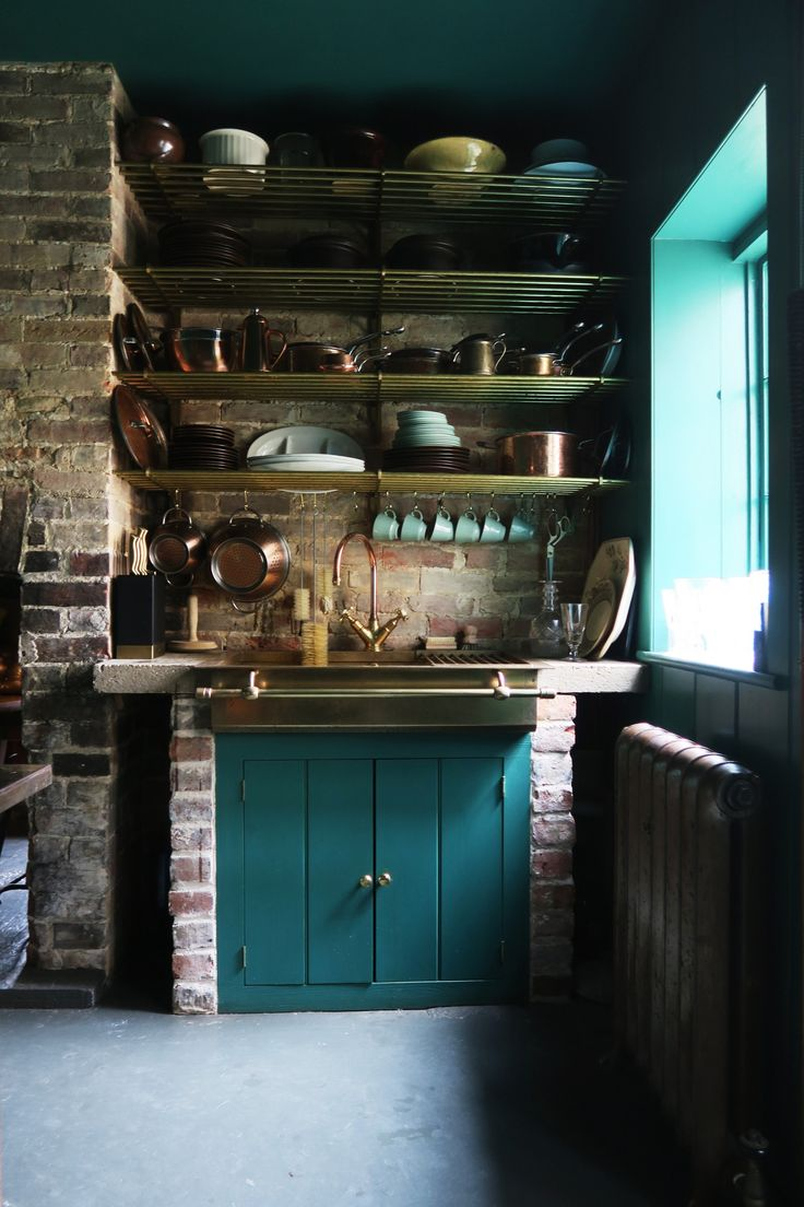 Antiques Dealer Alex Macarthur S Brick Cottage At The Monastery With Images Kitchen Design Decor Brick Kitchen Brick Cottage