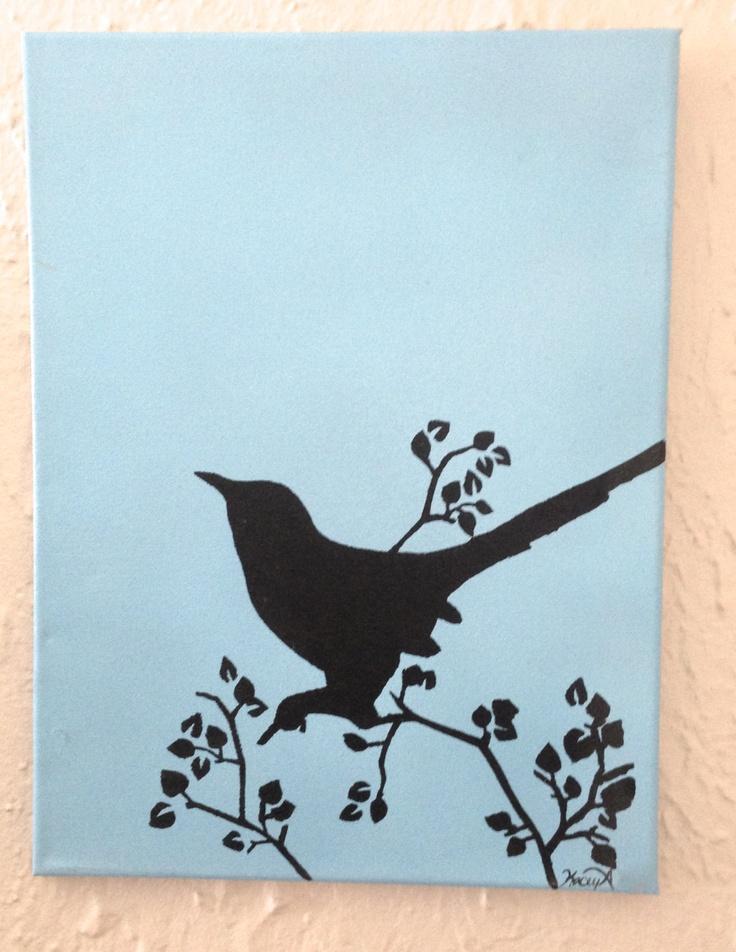 Black Bird Silhouette Paintings-Set of Two-Acrylic ...