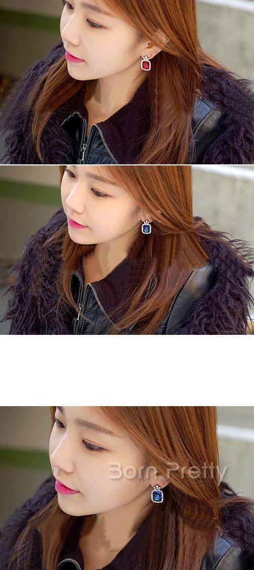 $3.23 Luxury Crystal Earring Mini Pearl Ear Stud 1Pair - BornPrettyStore.com