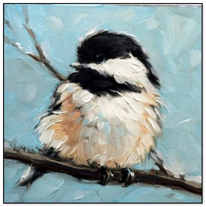54 Easy Acrylic Painting Ideas For Beginners To Try Chickadee Art Beginner Painting Birds Painting