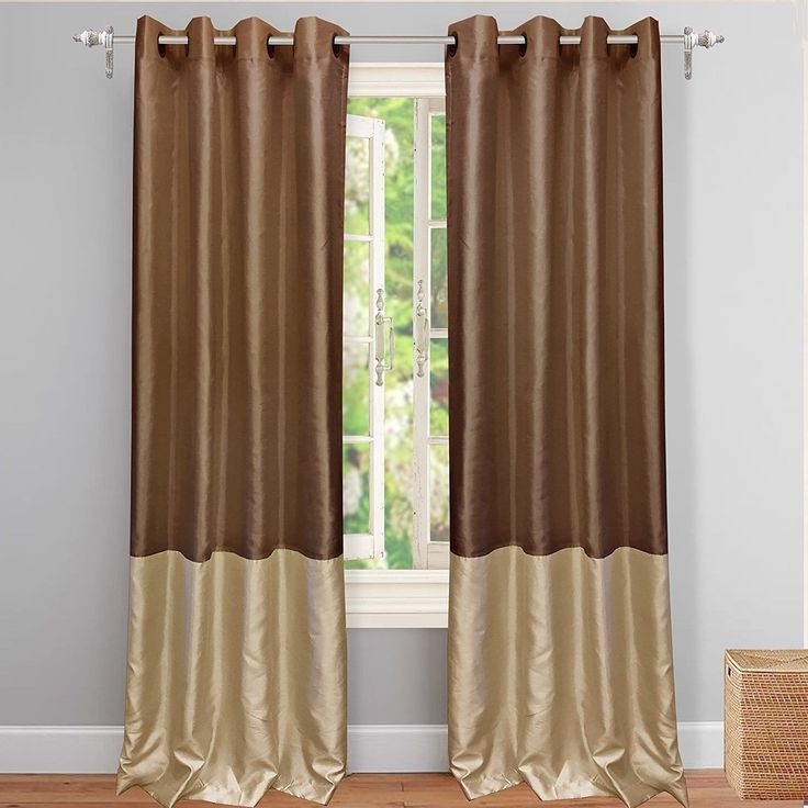 DriftAway Madelynn Solid Color Block-Room Darkening Curtains (Chocolate/Beige), Size 84 Inches