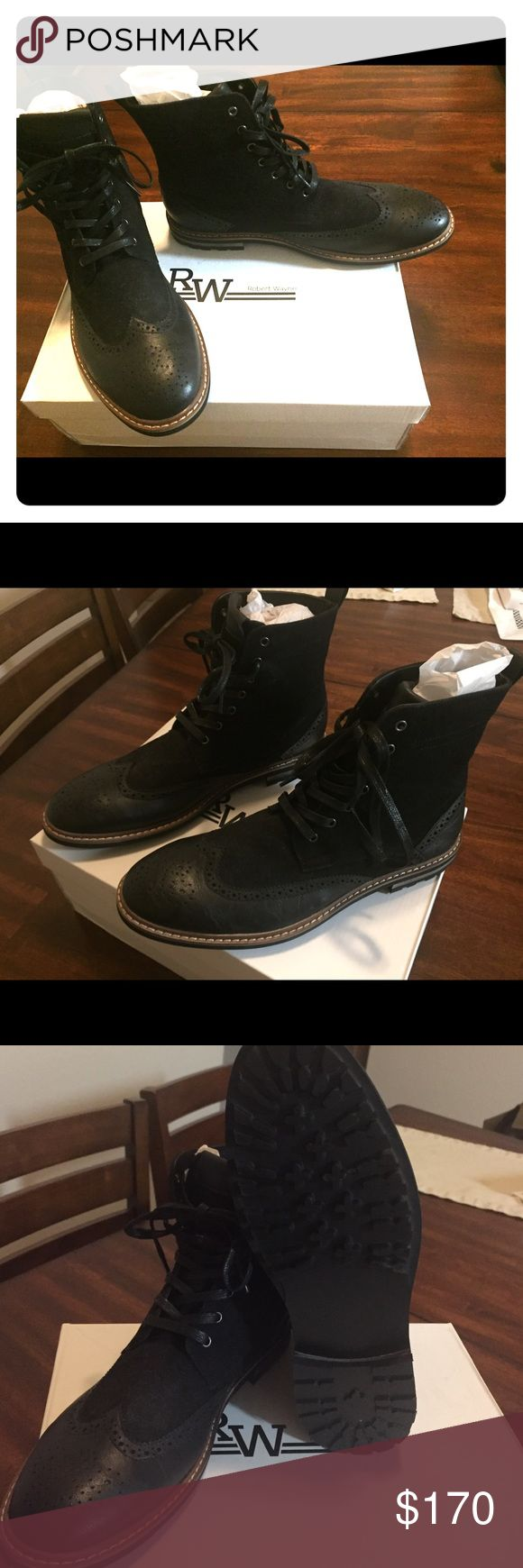 Robert Wayne Men's Brogue Boots Size US 9.5/ EU 41 Robert Wayne's Brogue style boots brand new! In the color black. Size US Men's 9.5/European size 41. Great boots to go clubbing or to a holiday party. Robert Wayne Shoes Boots