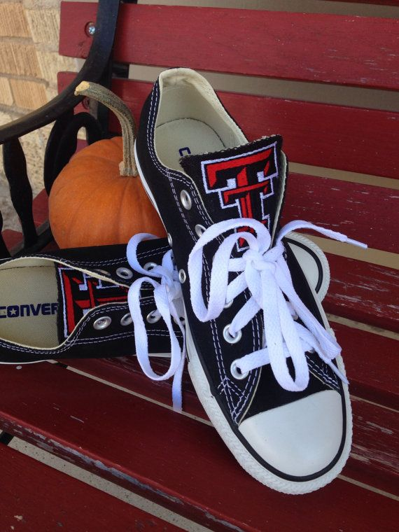 Fantastic way to support our favorite college! These are embroidered Converse with the beautiful #DoubleT emblem. #redraideroutfitter #texastech