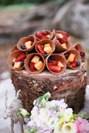 rustic nature inspired woodland baby shower with tree backdrop fruit in ice cream cones