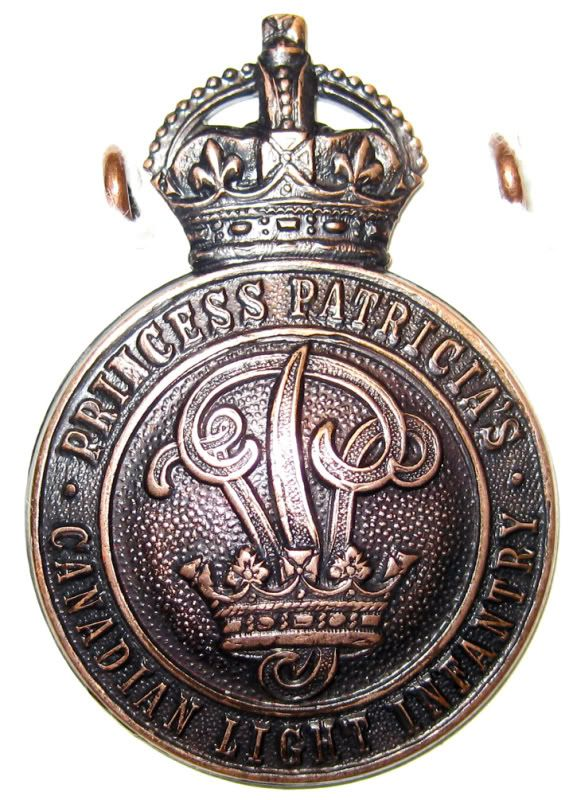 Princess Patricia's Canadian Light Infantry badge. The first Canadian regiment to hit the front lines; raised beginning in Ottawa 1914. The Princess Pats.