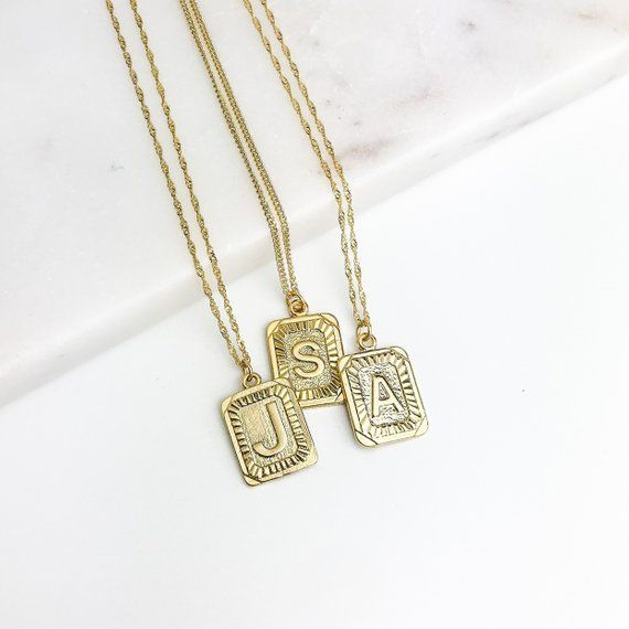 fd2bc997a8 Gold Letter Pendant Necklace, Square Medallion Pendant, Personalized,  Alphabet Rectangle Pendant, Boho, Kim Kardashian, Unisex, Men, Coin
