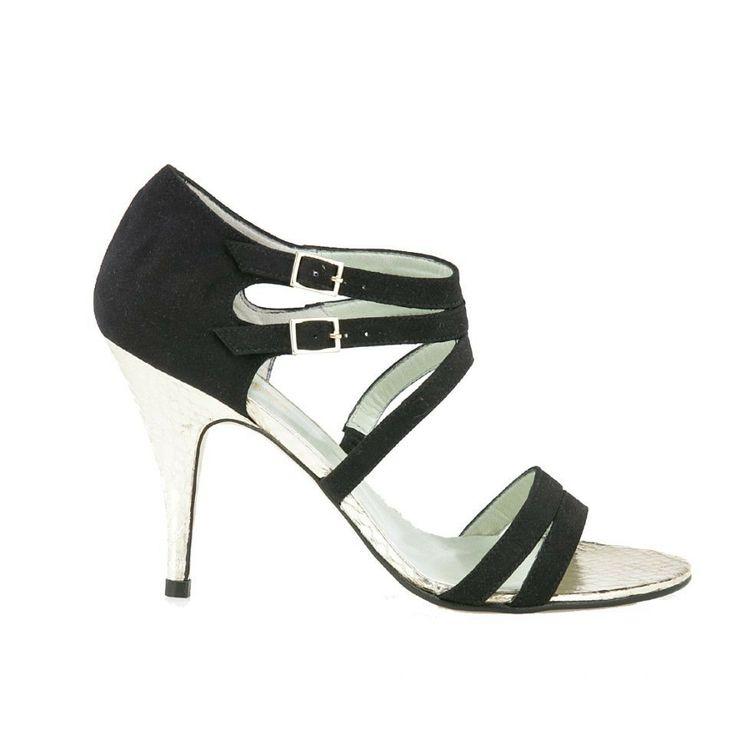 Ebony black - Elegante schoen met een twist: licht goudkleurige hakken met slangenprint.