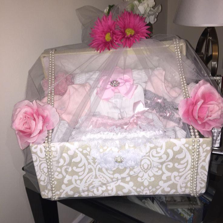 Elegant baby shower gift basket