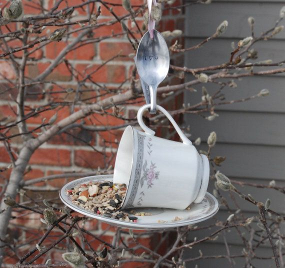 Tea Cup Bird Feeder with Hand Stamped Bent Spoon by aandkaccents, $15.00