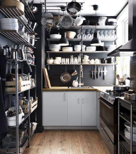The GRUNDTAL wall shelves let you utilize the vertical space in your kitchen while keeping it open and airy.