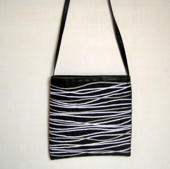 ribbons and remnants black silver & white / small by TotallyDawn, $15.00: Totallydawn