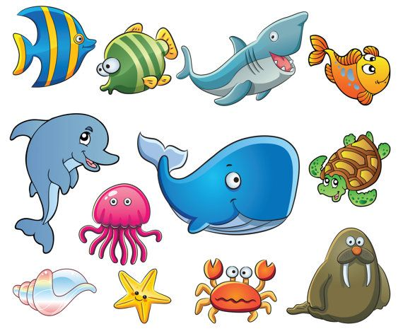 Cute Sea illustration Clipart Sea Clip Art by digitalcliparts