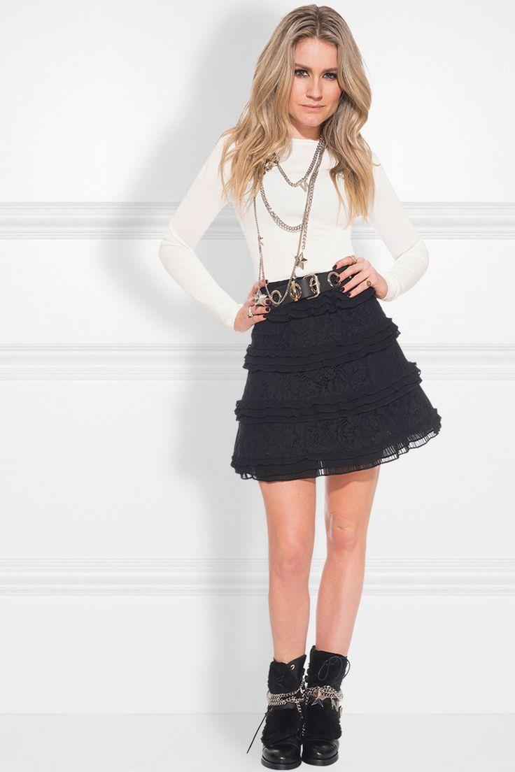 gelaagde rok met kant en plissé