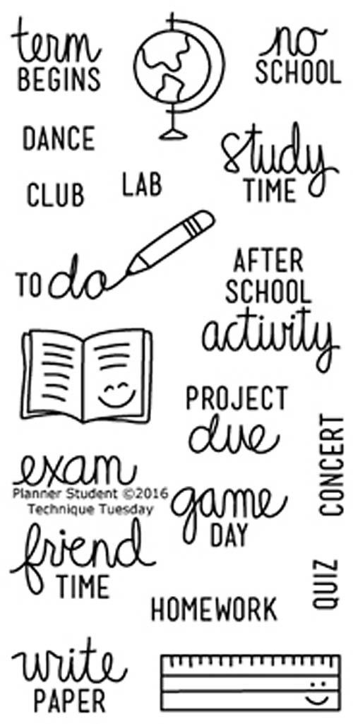"""TECHNIQUE TUESDAY: Planner Student (2"""" x 4"""" Clear Photopolymer Stamp Set) This clear photopolymer stamp set is perfect for planners, calendars, reminders, pocket scrapbooks and cards. Set measures app"""