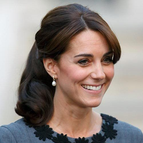 The Duchess proved that ponytails can be for grown-ups too. Keep it separate from the bangs by combing through the ponytail to re-create this look.