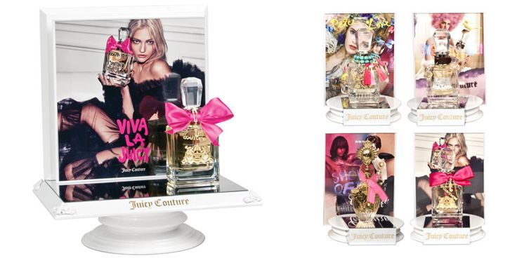 Retail Displays by RPG - Juicy Couture Counter Testers To support Juicy Couture's new brand design, we created these flirtatious and glamorous tester displays for their four popular fragrances.
