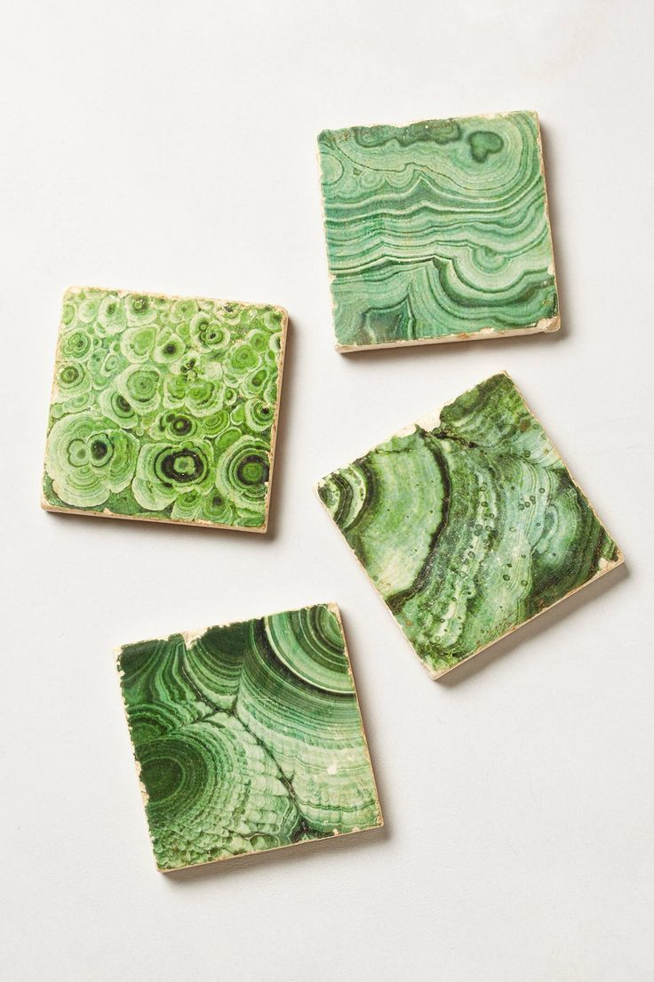 faux malachite stone coasters // anthropologie