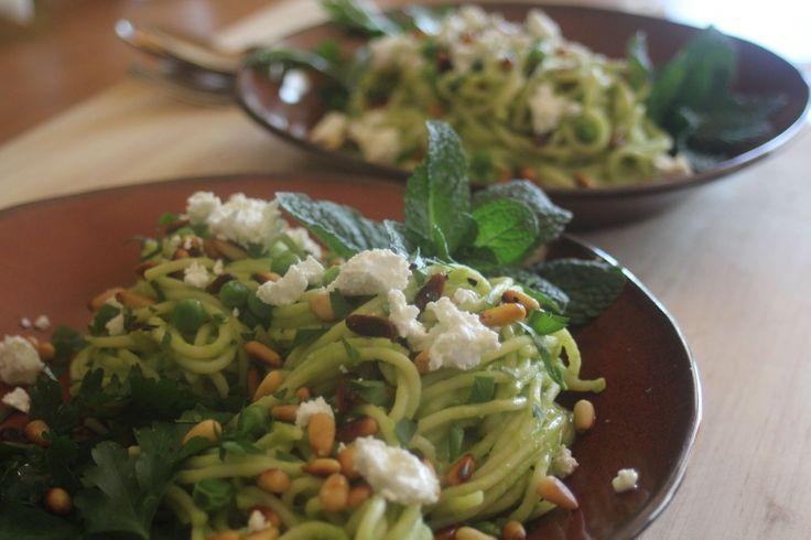 Green pea pasta with fetta & fresh herbs at Relish Mama.