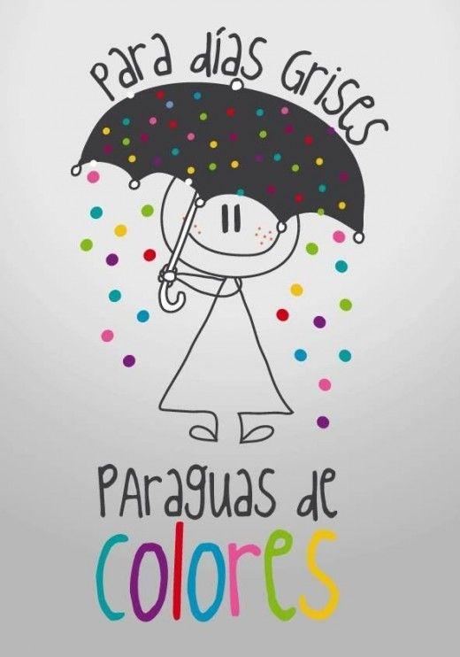 Para dias grises,paraguas de colores