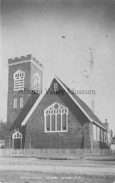 St. Andrews Presbyterian Church, prior to 1914.  Located on Johnston Road at Elizabeth Street, in Alberni.  Photographer: Leonard Frank. [Alberni Valley Museum Postcard PN00804]