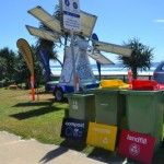 Sustainable event management practices, a solar powered busking stage & a 4 bin waste station at Surfrider Foundation Eco Challenge event
