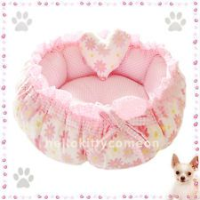 Pink Flower 100% Cotton Pets Puppy Dog Cat Beds House Double-side USE New