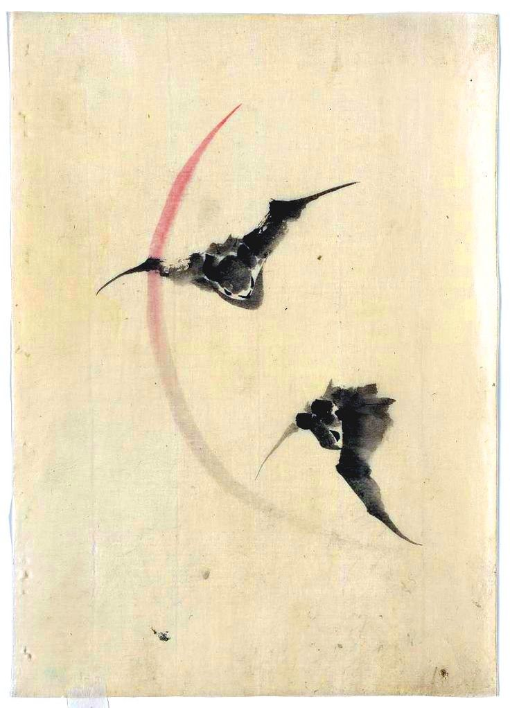 Cool Japanese wood block print of bats