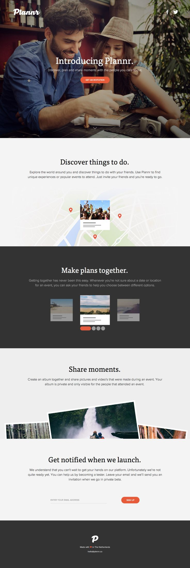 Responsive launching soon page for new startup 'Plannr' that claims to be a social platform to discover, plan and share moments together. Great choice of big intro image.