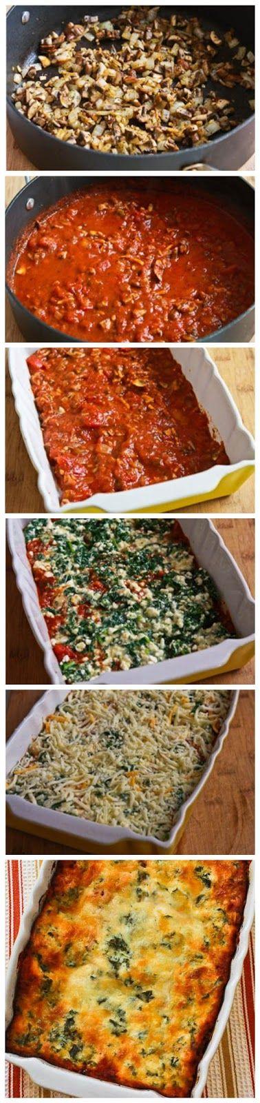 Vegetarian Lasagna with Kale and Mushroom-Tomato Sauce