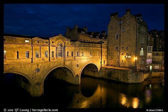Pulteney Bridge, designed by Robert Adam, at night. Bath, Somerset, England, United Kingdom (color)