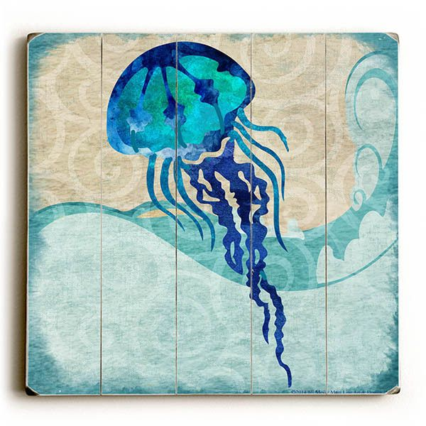 Jellyfish by Artist Jill Meyer Wood Sign