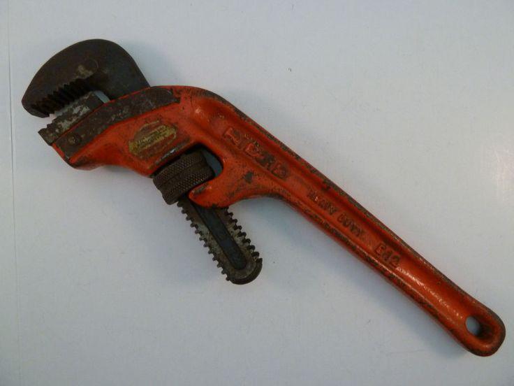 "Ridgid Pipe Wrench E12 Heavy Duty 12"" Long Offset Handle The Ridge Tools Co #RIDGID"