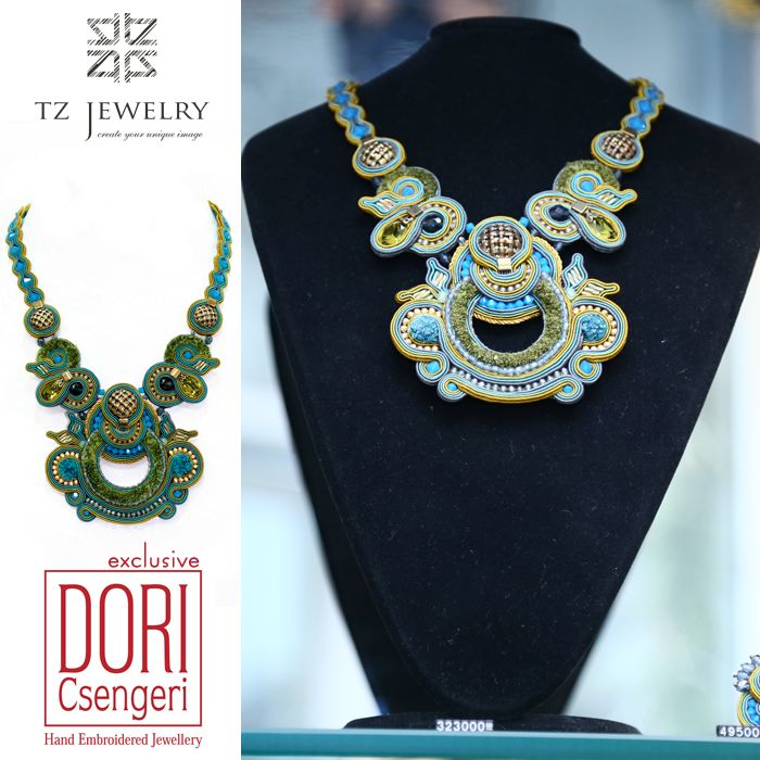 Unique Necklace from Dori Csengeri #DoriCsengeri #soutache #exclusive #jewelry #TZjewelry #unique #necklace #statementnecklace